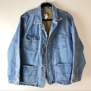 VINTAGE Wool Lined Denim Button Up Jacket Large